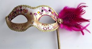 Pink and Gold Masquerade Mask  - Mask on a Stick | Masks and Tiaras